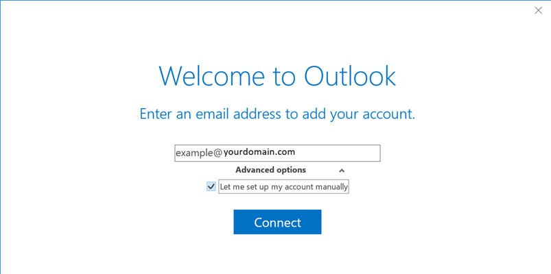 Screen shot of welcome to outlook screen