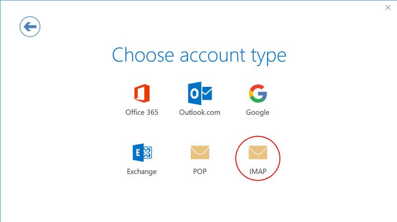 Screenshot of choose account type screen with IMAP option circled