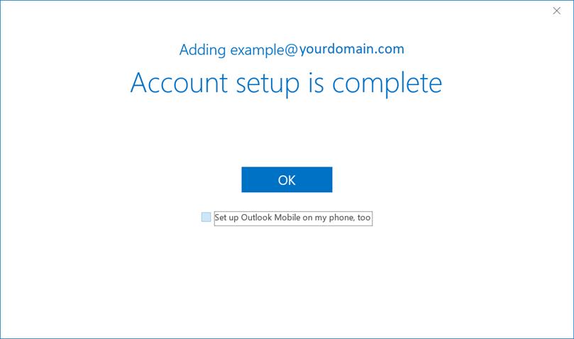 Screenshot of account set up complete screen