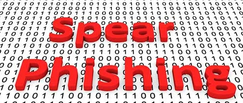 Binary code with the word spear phishing in red