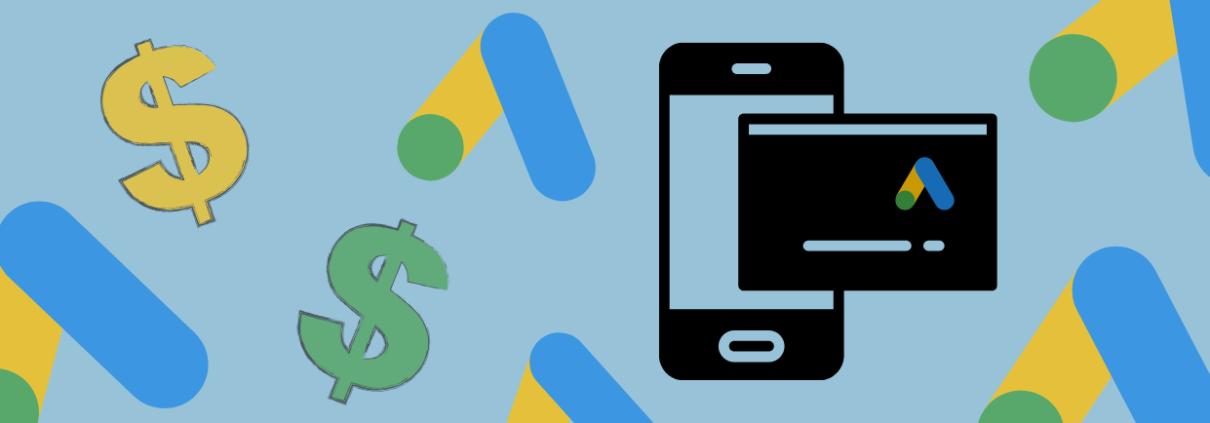 Dollar signs, Google Ads logo, showing Google Ads credi